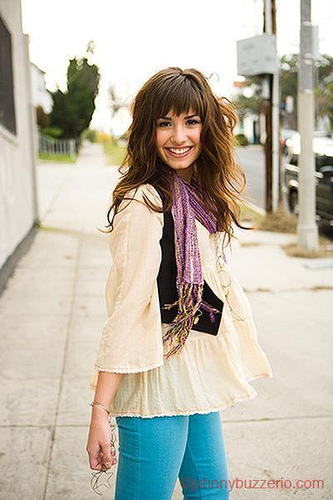 demi purple scarf